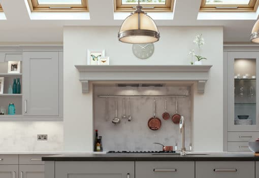 Burleigh painted Light Grey, Mantle Shelf, from Riley James Kitchens Gloucestershire