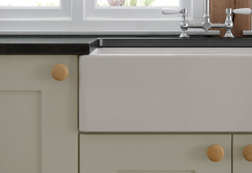 Burleigh painted Mussel with Belfast sink from Riley James Kitchens Stroud