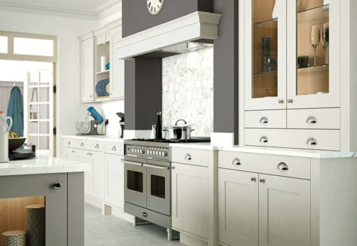 Burleigh painted Porcelain and Stone kitchen cabinets, from Riley James Kitchens Stroud
