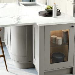 Burleigh painted Porcelain and Stone kitchen with Curved Island, from Riley James Kitchens Stroud