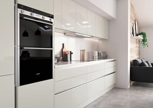 The Cerney Gloss Handleless Porcelain Cameo 1, from Riley James Kitchens Stroud