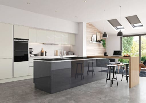 Cerney Gloss Handleless Porcelain and Graphite Main Shoot, from Riley James Kitchens Stroud