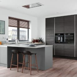 The Cerney Soft Matte Handleless Dust Grey Kitchen and The Tetbury Kitchen Hacienda Black Main Shoot - Bespoke Kitchens Gloucestershire - Riley James Kitchens Stroud