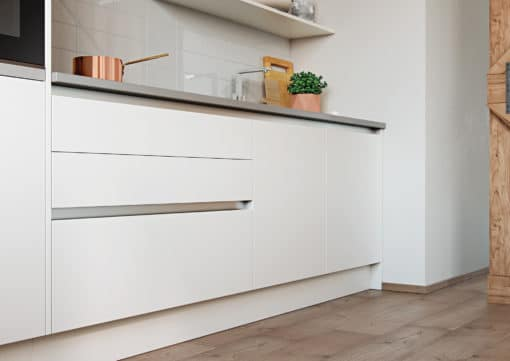 Cerney Soft Matte Handleless White Cameo 1, from Riley James Kitchens Stroud