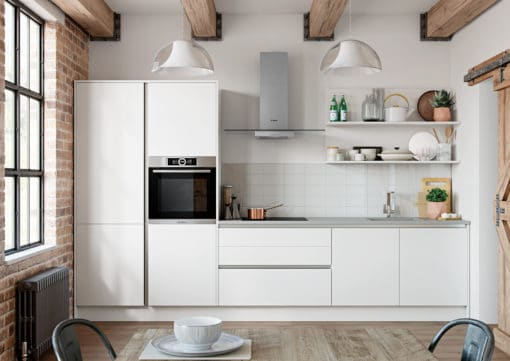 Cerney Soft Matte Handleless White Main Shoot, from Riley James Kitchens Stroud