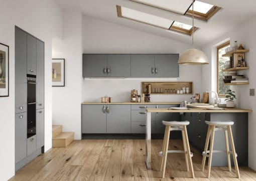 The Cerney Soft Matte Dust Grey Main Shoot, from Riley James Kitchens Stroud