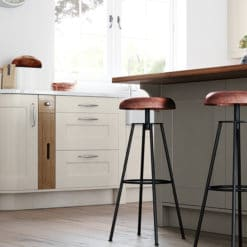 Cherington-painted-porcelain-stone-kitchen-cabinets-curved-tray-set - from Riley James kitchens Glocuestershire