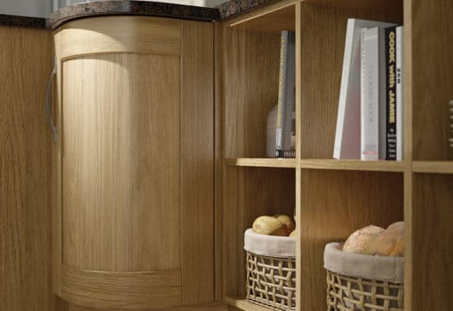 Malborough oak-kitchen-curved-cabinets-open-shelves - from Riley James Kitchens Stroud