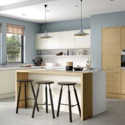 The Siddington Matte Kitchen, Porcelain, and The Tetbury Kitchen, Light Oak Main - Bespoke Kitchens Gloucestershire - Riley James Kitchens Stroud