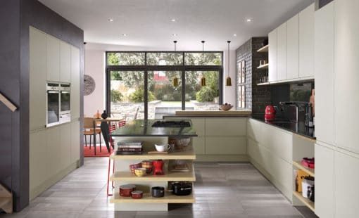 Siddington matte mussel painted kitchen hero, from Riley James Kitchens, Stroud