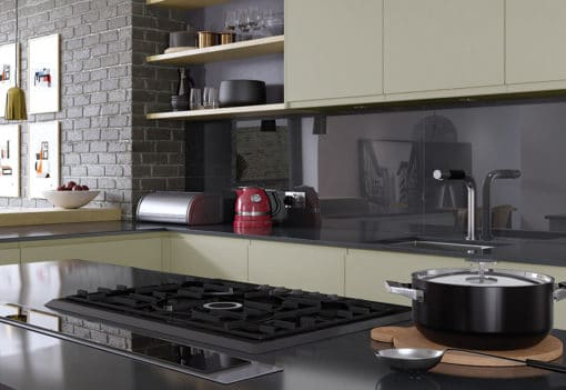 Siddington matte mussel painted kitchen shelves 1, from Riley James Kitchens Gloucestershire