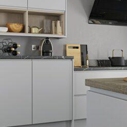 Siddington matte painted light grey kitchen units open shelf, from Riley James Kitchens Gloucestershire