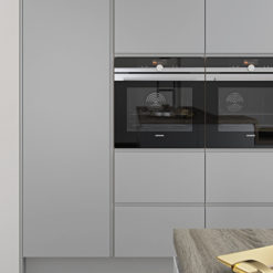 Siddington matte painted light grey kitchen wall unit 1, from Riley James Kitchens Stroud