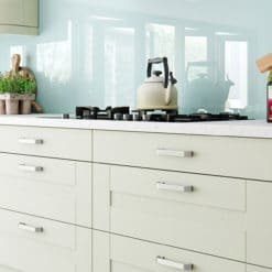 Tewkesbury shaker Kitchen - mussel kitchen cabinets, from Riley James Kitchens Stroud