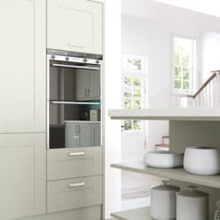 Tewkesbury shaker Kitchen - mussel kitchen shelves cabinets, from Riley James Kitchens Stroud