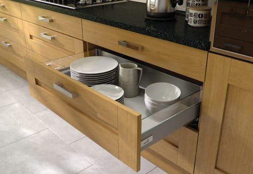 Tewkesbury shaker Kitchen - oak kitchen Hettich drawer from Riley James Kitchens Gloucestershire