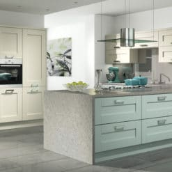 The Tewkesbury shaker Kitchen - painted ivory light blue kitchen hero, from Riley James Kitchens Gloucestershire
