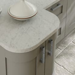 Tewkesbury shaker Kitchen - stone kitchen quadrant doors, from Riley James Kitchens Gloucestershire
