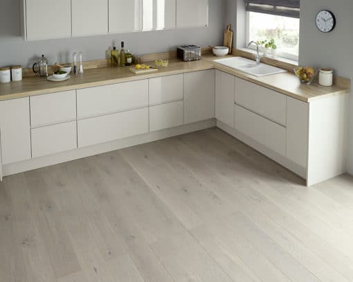 Tuscan Solid Wood Worktops, chalked oak, with Siddington Gloss Units - available from Riley James Kitchens Stroud