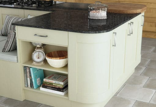 malaborough-oak-painted-ivory-kitchen-island-curved-doors-A - from Riley James Kitchens Stroud