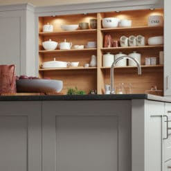 The Burleigh painted Light Grey Island, from Riley James Kitchens Gloucestershire