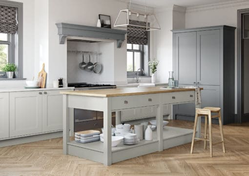The Burleigh painted Light Grey and Dust Grey, from Riley James Kitchens Gloucestershire