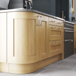 The Woodchester Shaker Kitchen - Light Oak kitchen cabinets, Quadrant Door - from Riley James Kitchens Stroud