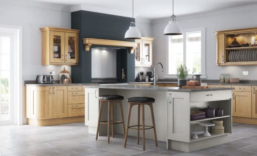 The Woodchester Painted Kitchen - Light Oak and painted Stone kitchen cabinets, Hero - from Riley James Kitchens Stroud