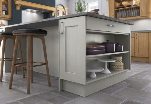 The Woodchester Kitchen - Light Oak and painted Stone kitchen cabinets, Island Open Shelf - from Riley James Kitchens Stroud