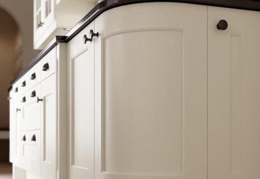 The Woodchester Kitchen - Ivory kitchen quadrant door, from Riley James Kitchens Stroud