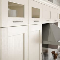The Woodchester Kitchen - Ivory kitchen cabinets, glazed wall units - from Riley James Kitchens Stroud