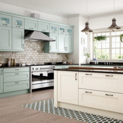 The Woodchester Kitchen - Ivory and Powder blue Painted kitchen cabinets - from Riley James Kitchens Stroud