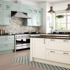 The Woodchester Kitchen - Ivory and powder blue kitchen, from Riley James Kitchens Stroud