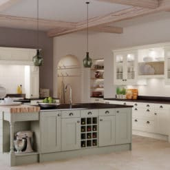 The Woodchester Kitchen - Ivory and sage green kitchen hero, from Riley James Kitchens Stroud