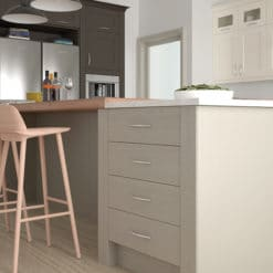 The Woodchester Kitchen - Ivory Stone and Lava kitchen island, from Riley James Kitchens Stroud