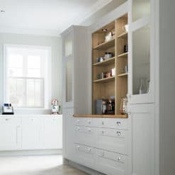 The Woodchester Kitchen - painted Mussel kitchen cabinets, Dresser Unit - from Riley James Kitchens Stroud