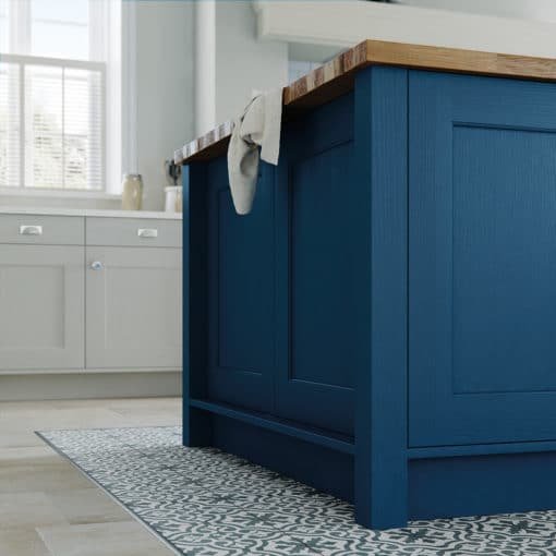 The Woodchester Kitchen - Parisian Blue and Mussel Painted kitchen cabinets, Island End Panel - from Riley James Kitchens Stroud