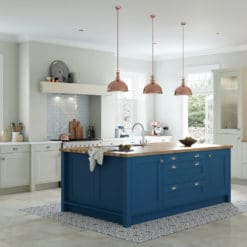 The Woodchester Kitchen - Parisian Blue and Mussel Painted kitchen cabinets, main - from Riley James Kitchens Stroud