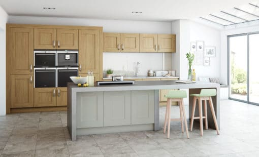 The Oakridge Kitchen, Oak Painted Stone Hero - An Oak Shaker Kitchen from Riley James Kitchens Gloucestershire