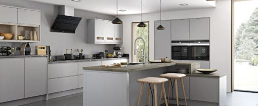 The Siddington Matte, painted Light Grey, from Riley James Kitchens, Gloucestershire