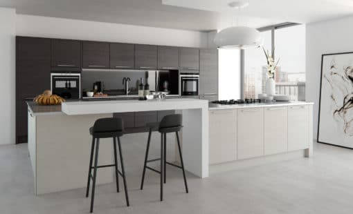 The Tetbury Stained Hacienda Black & Painted Light Grey Kitchen - Bespoke Kitchens Gloucestershire - Riley James Kitchens Stroud