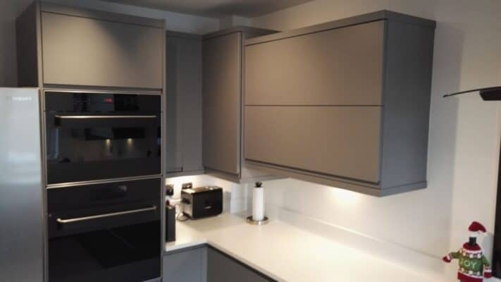 The Siddington Kitchen, Painted Dust Grey - Aventos Lift Up Wall Cupboard - Riley James Kitchens, Gloucestershire - Install 1794/23
