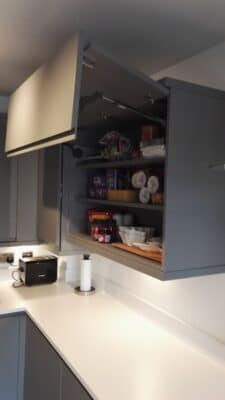 The Siddington Kitchen, Painted Dust Grey - Aventos Lift Up Wall Cupboard - Riley James Kitchens, Gloucestershire - Install 1794/24