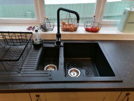 Riley James Malborough Sage Green Installation 1810 Sink & Tap - Riley James Kitchens Stroud