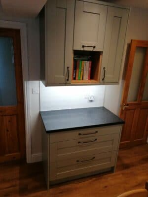 Riley James Malborough Sage Green Installation Pan Drawers & Book Space 1 - Riley James Kitchens Stroud