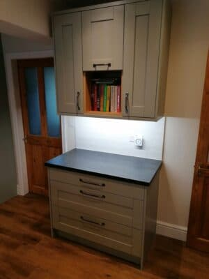 Riley James Malborough Sage Green Installation Pan Drawers & Book Space 2 - Riley James Kitchens Stroud