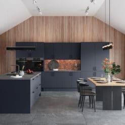 Cerney Matte Slate Blue Main Shoot - by Riley James Kitchen Gloucestershire