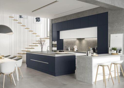 The Cerney Soft Matte Handleless Kitchen - Indigo - Bespoke Kitchens Gloucestershire - Riley James Kitchens Stroud