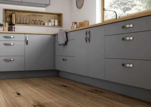 The Cerney Soft Matte Handleless Kitchen in Dust Grey - Bespoke Kitchens Gloucestershire - Riley James Kitchens Stroud