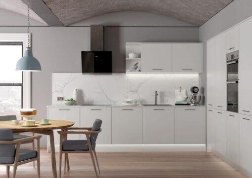 The Cerney Soft Matte Handleless Kitchen in Light Grey - Bespoke Kitchens Gloucestershire - Riley James Kitchens Stroud